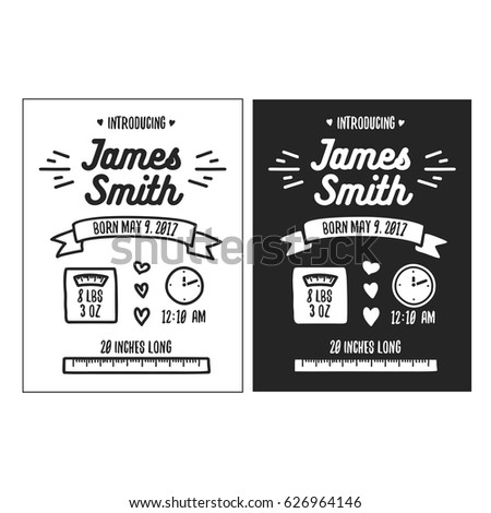 Birth Announcement Images RoyaltyFree Images Vectors – Black and White Birth Announcements