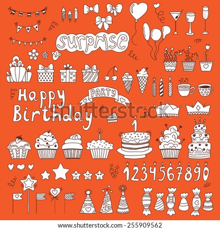 Hand drawn Birthday party elements on orange background. Vector illustration - stock vector