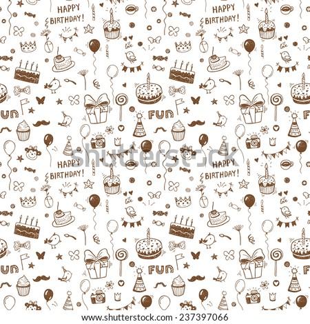 Hand drawn birthday seamless pattern. - stock vector