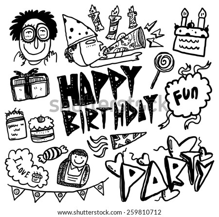 hand drawn birthday themed doodle   - stock vector