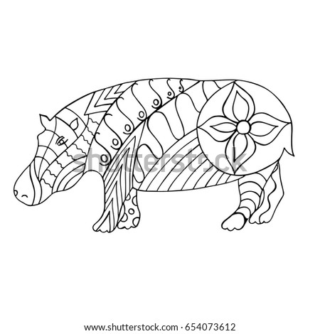 Hand Drawn Black And White Hippo Zentangle For Coloring Book Page