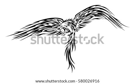 Hand drawn black and white illustration of a Phoenix or Eagle with spread wings tattoo or stencil with a tribal look in vector.
