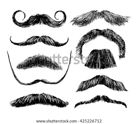Hand drawn black and white mustache set - stock vector