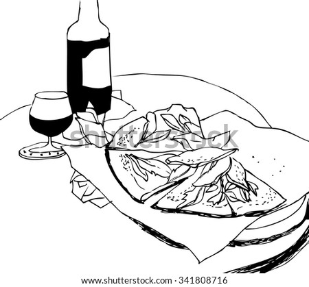 hand drawn black and white still life with wine and pizza vector. Sketch of cozy  italian pizzeria - stock vector