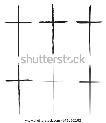 Hand-drawn black crosses shapes, Christian crosses black silhouettes collection isolated over white background, latin cross set vector illustration - stock vector