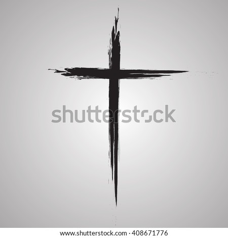 ... cross icon, simple Christian cross sign, hand-painted cross - stock