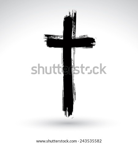 Hand drawn black grunge cross icon, simple Christian cross sign, hand-painted cross symbol created with real ink brush isolated on white background. - stock vector