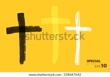 Hand drawn black grunge cross, simple Christian cross sign, hand-painted  with brush cross symbol. - stock vector