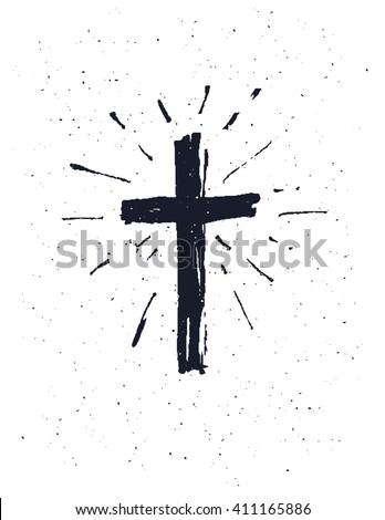 Hand drawn black grunge cross, simple Christian cross sign,  isolated on white background. - stock vector