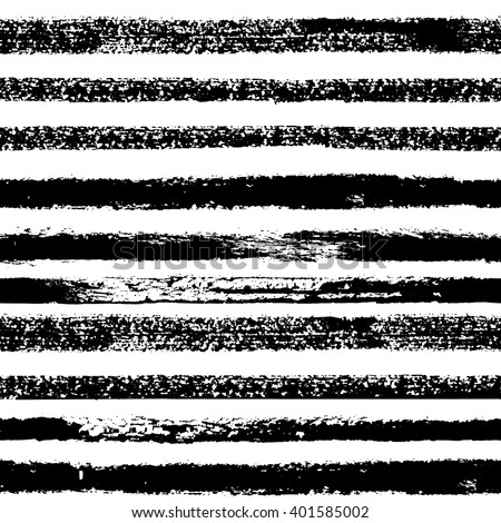 Hand drawn black ink abstract striped seamless pattern. Vector grunge texture. Monochrome paint brush smears on white background.