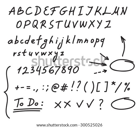 Hand drawn black marker set of alphabet letters, numbers and punctuation, along with a few doodles: arrows, circles and other symbols. Messy and quick handwriting. - stock vector
