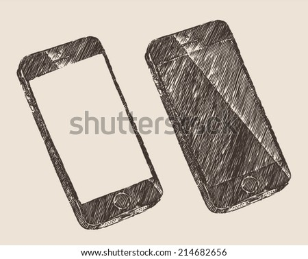 Hand drawn black mobile phone (iPhone) with blank screen isolated, vector illustration, sketch. - stock vector
