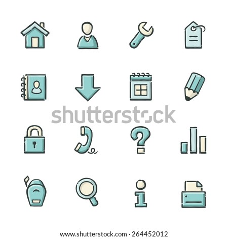Hand drawn blue and beige internet and website icons. File format is EPS8. - stock vector