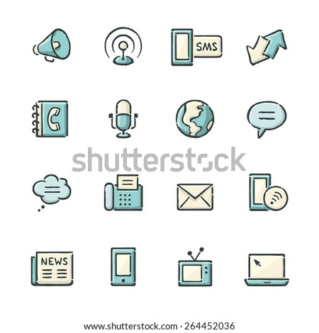 Hand drawn blue and beige media and communication icons. File format is EPS8. - stock vector