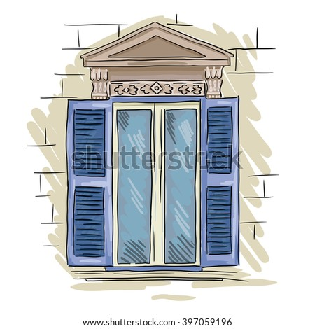 vintage window drawing. hand drawn blue window. vintage artistic architecture window with shutters drawing