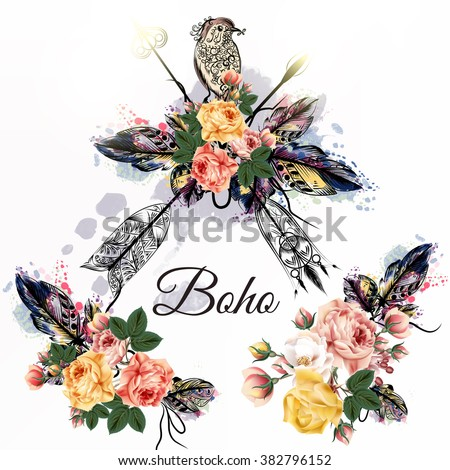 Hand drawn bo-ho tribal design with arrows roses and birds in watercolor hand drawn style - stock vector