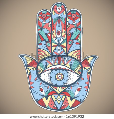 Hand drawn boho hamsa hand. Vector illustration. - stock vector