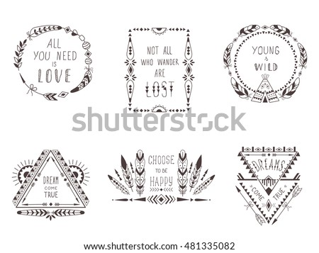Hand Drawn Boho Style Frames and Decorations. Set of Fashion Ethnic Designs with motivate Slogan , Quotes for T-shirt, Tattoo and Card.