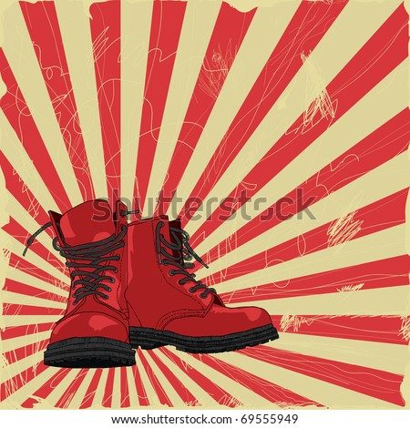 hand-drawn boots on a grungy background - stock vector