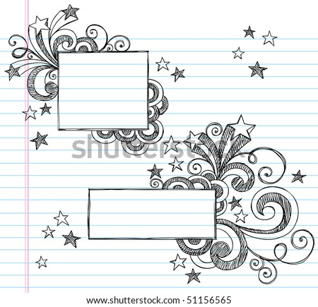 Hand-Drawn Borders with Stars and Swirls Sketchy Notebook Doodles Vector Illustration on Lined Sketchbook Paper Background - stock vector
