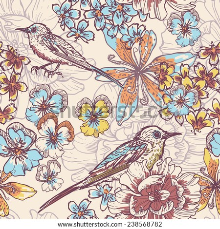 Hand drawn botanical  seamless pattern with birds . All objects are conveniently grouped  and are easily editable. - stock vector