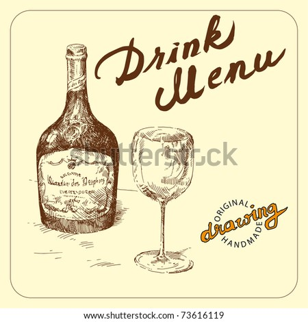 hand drawn bottle and wineglass - stock vector