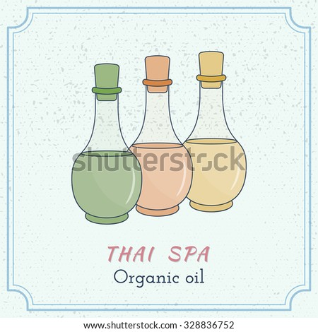 Hand drawn bottles of spa oils, branding identity elements on grange background. Concept for beauty salon, massage, cosmetic and spa. Isolated high quality vector. Easy to use business template. - stock vector