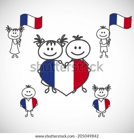 hand-drawn boy and girl holding flag on a white background, cartoon doodle. France