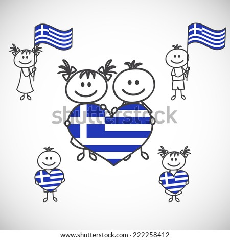 hand-drawn boy and girl holding flag on a white background, cartoon doodle. Greece - stock vector
