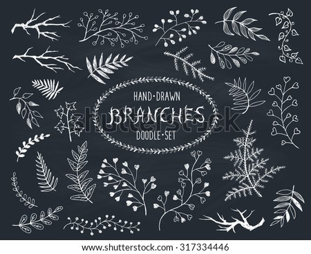 Hand drawn branches collection. Set of inc doodle branches isolated on white background. Floral decorative elements for postcard and invitation design. Vector illustration. - stock vector
