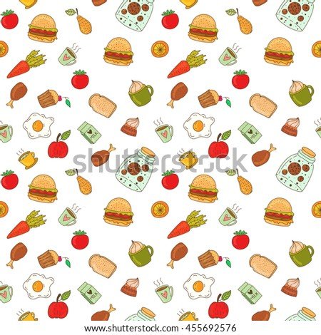 Hand drawn breakfast food and icons doodles. School lunch menu. Vector illustration. Seamless pattern