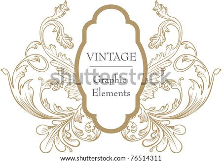 hand-drawn brown vintage frame - stock vector