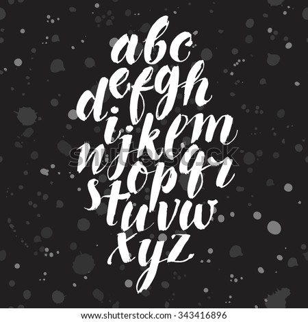 Hand drawn brush calligraphy vector ABC letters. Artistic textured brush font. Beautiful typeface for your design. - stock vector