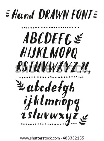 Hand Drawn Brush Calligraphy Vector ABC Letters Artistic Textured Font Beautiful Typeface For