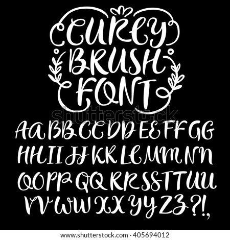 Hand drawn brush ink vector ABC  letters set. Curly decorative font for your design.