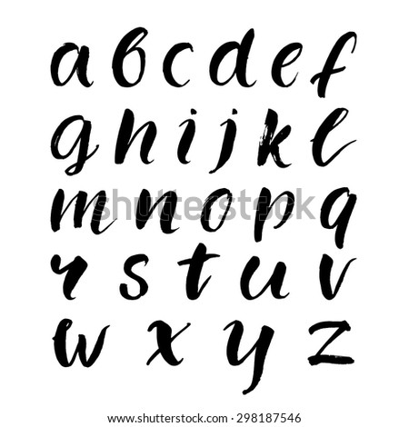 Hand drawn brush lowercase alphabet. Black vector letters isolated on white background. - stock vector