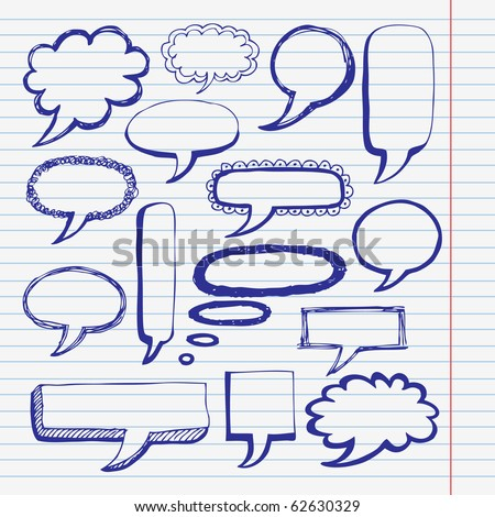 Hand drawn bubble set - stock vector