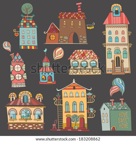Hand drawn buildings in vintage style. Vector illustration. - stock vector