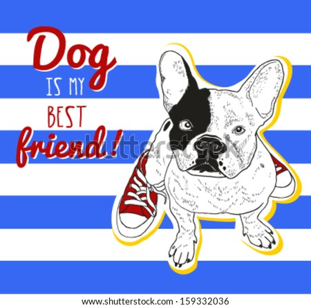 Hand drawn bulldog illustration in red sneakers on striped background
