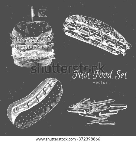 Hand drawn burger, french fries, hot dog, sandwich