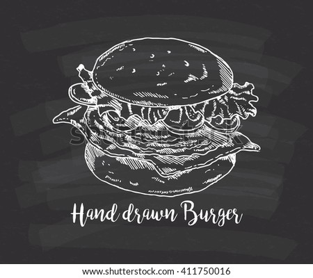 hand drawn burger on chalkboard background - stock vector