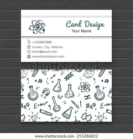 Hand drawn business card mock up with science doodle icons for your design - stock vector