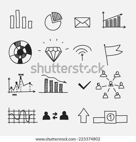 Hand drawn business doodle sketches infographic elements - stock vector