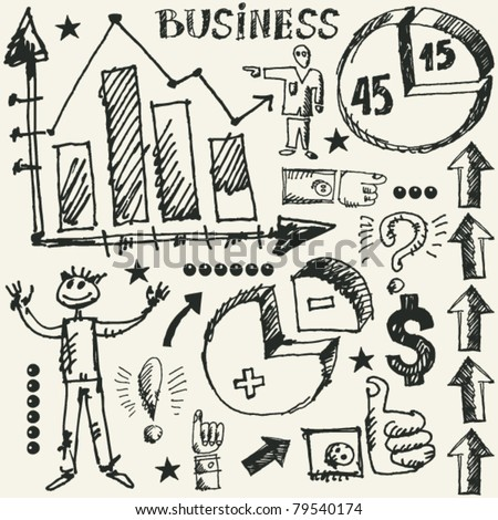 hand drawn business doodles - stock vector
