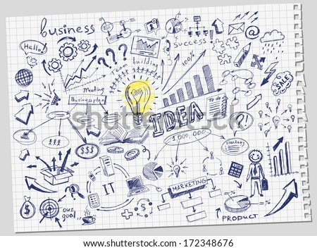 hand-drawn business doodles set - stock vector