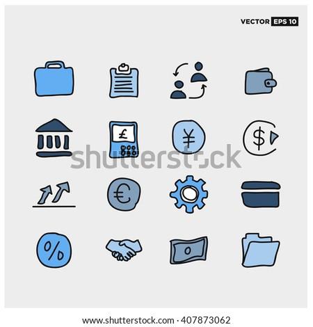 Hand Drawn Business Finance Icon Set (Vector Illustration) - stock vector