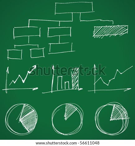 hand drawn business graphs - stock vector