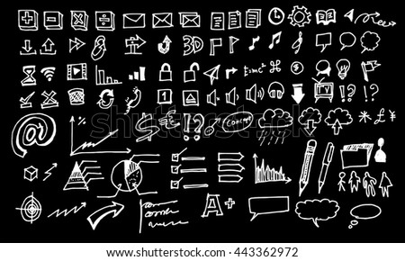 Hand drawn business icon set. Include arrow, diagram, puzzle piece, thumbs up, money, key to success concept and more. Chalkboard effect. Vector illustration.