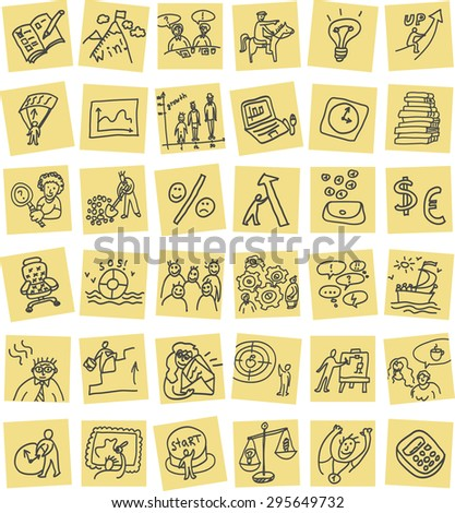 Hand drawn business icons set. Set with business hand drawn doodles icons. Color vector illustration. - stock vector