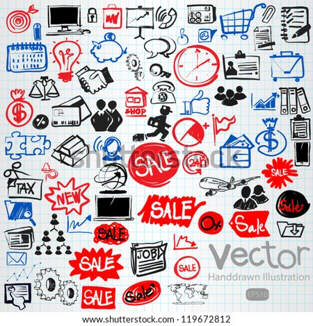 hand drawn business icons set, vector - stock vector